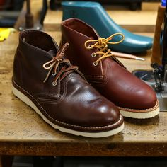Same boot! A worn in Chukka we recently resoled here vs a brand new one we have in stock. Checkout more shots of the boot resole on our blog post. Red Wing Chukka Boots, Red Wing Boots, Fashion Boots, Mens Fashion, Natural Leather, Shoe Boots, Shoes Sneakers, Pairs, My Style