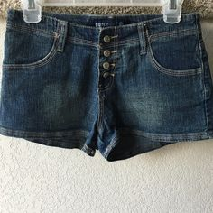 Blue Asphalt jean shorts Cute shorts in great condition! Material is stretchy. 53% ramie, 35% cotton, 8% polyester, 4% spandex Blue Asphalt Shorts Jean Shorts