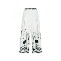 Temperley London Lettie Wide Leg Cropped Trouser ($1,195) ❤ liked on Polyvore featuring pants, capris, cropped, cropped pants, white wide leg trousers, wide leg cropped pants, bohemian pants and white high waisted trousers