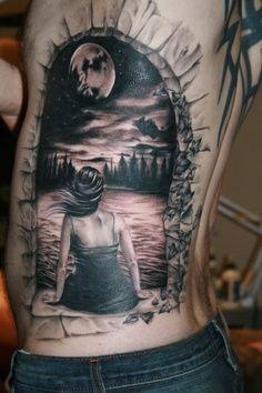 Amazing 3D Full Moon Tattoos On Rib Side | Tattoobite.com