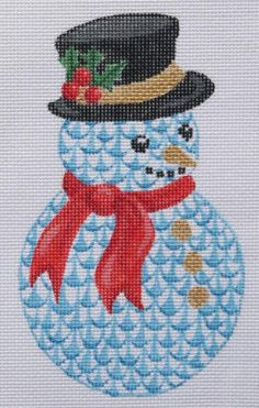 Kate Dickerson Herend-inspired fishnet snowman ornament