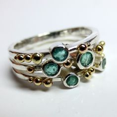 Emerald & Gold Stack - inherited stones * silver bands peppered with 18ct yellow gold granulation beads * Honeybourne Jewellery * Bespoke * POA.