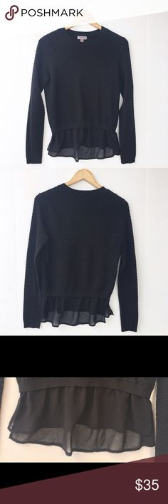 """Chelsea28 Nordstrom Black Pullover Skirted Sweater Chelsea28 Skirted Top in lightly used condition ⭐️42% viscose 35% nylon 20% cotton 3% cashmere • Skirted bottom • Underarm to underarm: 17"""" • Length: 22""""⭐️ Chelsea28 Sweaters Crew & Scoop Necks"""
