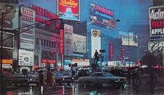 1964 Times Square In Rain Vintage NYC Photo