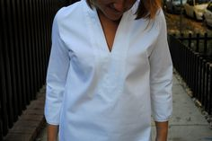 Lake Shore in Crisp White by Elizabeth Doorhy // Made in USA // Fall Fashion // Classic Fashion // Preppy // Tunic // Grosgrain Ribbon // Made in Chicago // Fall Style // Preppy Style