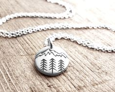Tiny mountain necklace, forest nature wilderness trees hiking camping pendant necklace by lulubugjewelry on Etsy https://www.etsy.com/listing/202198494/tiny-mountain-necklace-forest-nature