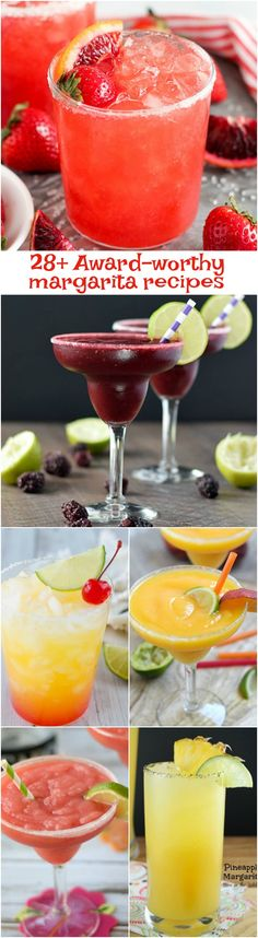 Kick back and enjoy these 28 Award-Worthy Margarita Recipes. These Margarita recipes are sweet tart and refreshing cocktails that taste like sunshine in a glass! Refreshing Cocktails, Summer Drinks, Cocktail Drinks, Fun Drinks, Cocktail Recipes, Alcoholic Drinks, Drink Recipes, Margarita Recipes, Mexican Margarita Recipe