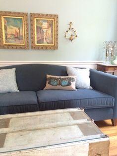 Palladian Blue walls with dark blue sofa - The Decorologist