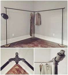 Home This post is named maximize the space: 13 nice corner closet ideas in the small room and is ful Diy Clothes Rack Pipe, Clothes Rack Bedroom, No Closet Bedroom, Wardrobe Closet, Closet Rooms, Hanging Clothes Racks, Diy Clothes Storage, Diy Bedroom, Bedroom Small