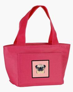 Checkerboard Pink Fawn Pug Lunch Bag BB1262PK-8808