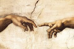 Michelangelo Buonarroti : Hands of God and Adam Sistine Chapel (1509) Canvas Gallery Wrapped Wall Art Print