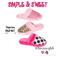 HP 3/22Sweet Simple & Sweet Slide Slippers The Simple & Sweet Slide Slippers show off your playful personality. Made by Sweet. Made of Polyester, Hand or machine wash, Durable TPR sole. One Pink Leopard Print/Pink, One Black & White Polka Dot/Pink. Each one is Size 7/8 PLEASE do not purchase this Listing!  I will make a separate listing for each set of slippers purchased! SWEET Shoes Slippers