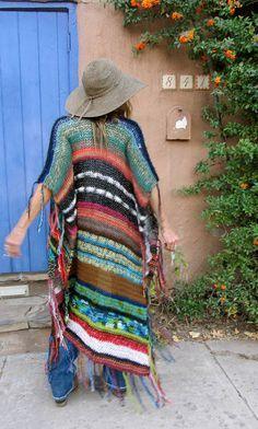 LONG Handknit Womens Bohemian Festival Hippie Beach por poshbygosh