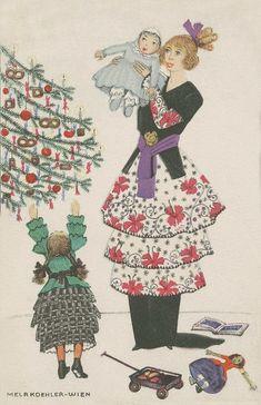 Family Christmas Cards, Noel Christmas, Xmas Cards, Vintage Christmas, Christmas Postcards, Art Deco Posters, Vintage Posters, Vintage Art, Illustration Noel