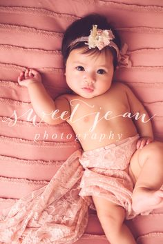 milestone session 3 month old baby girl - cute headband and wrap