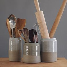 Kitchen utensil holder- sand stoneware w/ grey glaze - modern minimal, #Glaze, #Kitchen