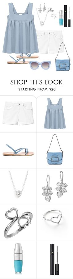 """Cool Blue Summer"" by kimchk ❤ liked on Polyvore featuring Gap, Ancient Greek Sandals, Tory Burch, EF Collection, Dower & Hall, Jordan Askill, Lancôme and Alice + Olivia"