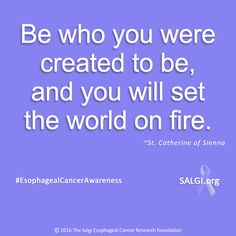 """Be who you were created to be, and you will set the world on fire."" ~St. Catherine of Sienna  #MotivationalMonday #EsophagealCancerAwareness #AllPeriwinkleEverything™ ➡www.️SALGI.org"