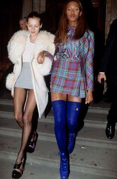 Campbell and Moss. Naomi is wearing the Vivienne Westwood heels she had fallen on the runway in at the 1993 show. #Fierce