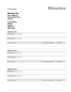 Meeting Minutes Template  For Work  Administrative