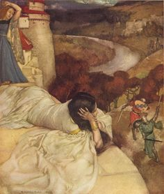 'They fought for the love of one lady, and ever she lay on the walls and beheld them.'  Tristan and Isolt,  Sir William Russell Flint :(1880-1969). From: Malory, Thomas, Sir. Le Morte Darthur: The History of King Arthur and of his Noble Knights of the Round Table. Boston: Ralph T. Hale & Company, n.d.