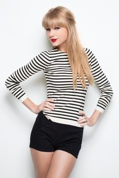 Taylor Swift Black high Waisted Shorts black and white striped long sleeve shirt