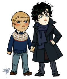 Chibi versions of John and Sherlock! Super cuteness!!!   People are definitely gonna talk now by *ile-o
