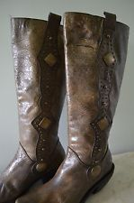 Baci Pistol 6 M-Leather-Studded-Rocker/Western-Green Mid Calf Boot