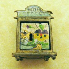 Antique Mon Secret French Enamel Pansy Safe Charm Opens to Enamel Heart