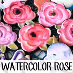 How to make watercolor rose decorated sugar cookies for Valentines Day! Flower Sugar Cookies, Rose Cookies, Sugar Cookie Royal Icing, Iced Cookies, Cupcake Cookies, Cookies Et Biscuits, Cookie Favors, Baby Cookies, Heart Cookies