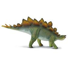 """Each of the Collecta deluxe models comes with a little plastic palaeontologist know as """"Sir Arthur Gauge"""".  Sir Arthur comes complete with pickaxe and binoculars and provides scale for each model.  This really allows the size of the Stegosaurus to be appreciated.  ollectA's replica of the Stegosaurus is detailed and lifelike, down to the bumps on its skin and the distinctive bony plates on its back. The lumbering Stegosaurus is depicted as though it is in motion, with its mouth open, and…"""