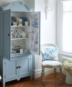 Painted Blue & White Hutch blue home vintage paint decorate refinish hutch shabby chic