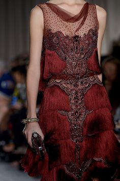 Marchesa NYFW Spring 2013 20's Vintage Look Red Dress