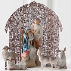 """WillowTree Holy Family Nativity Set  Three Pieces:  - The Holy Family  (Figurine is made of resin and stands 7.5"""" tall.)  - Sheltering Animals for The Holy Family  - Shelter for The Holy Family.  I'd love to collect these as our family nativity set."""