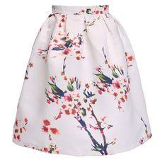 Minetom Damen Röcke Fashion Sommerkleid Blumen Sommer knielang Weiß Rock Skirt White EU L
