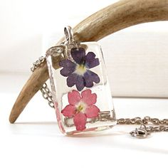 Resin Pendant Purple Red Real Flower Necklace  by JolieGlace