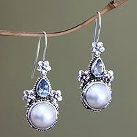 Cultured pearl and blue topaz floral earrings, 'Frangipani Trio' by NOVICA