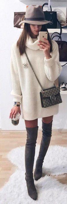 #winter #fashion / Grey Hat / White Turtleneck Knit Dress / Grey Velvet OTK Boots