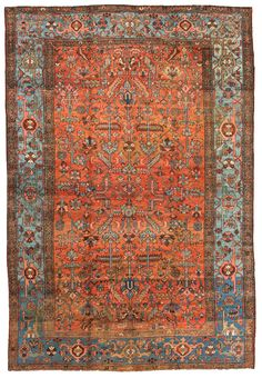 Heriz Persian Rugs Number 13280, Serapi Antique Rugs   Woven Accents