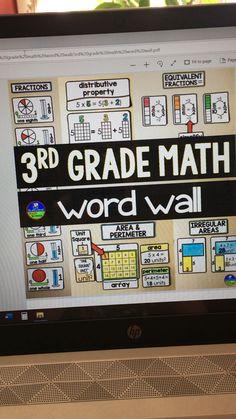 Grade Math Word Wall (now in color), Math Vocabulary Wall, Math Wall, Math Word Walls, 3rd Grade Classroom, 4th Grade Math, Math Classroom, Classroom Ideas, 3rd Grade Words, Third Grade Writing