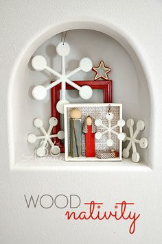 Christmas Decor Entryway… Loving the aqua and red accents and this DIY Wood Nativity! #home #decor #christmas