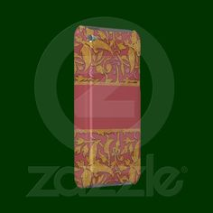 This elegant and stylish iPod Touch case is adorned with a gorgeous, bold leafy vine damask pattern in burnished gold against a deep rose pink background. A wide band in the same pink trimmed in the same gold stretches across the center. From my original digitally-created image.