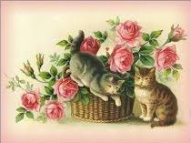 Vintage Cats with roses