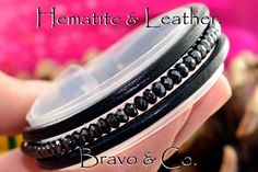 1B-072 Finely Made Faceted Hematite & Leather Unisex New Wristband Men Bracelet.