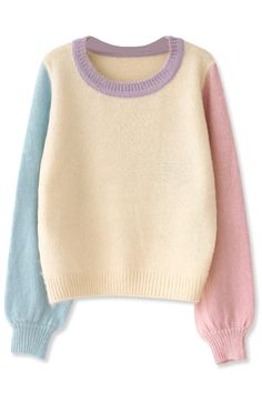 Women's Fashion Clothing #Essential Color Block #Mohair #Sweater - OASAP.com
