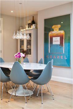 Laura Butler-Madden - Kitchen, Drop Chair, Arne Jacobsen, Andy Warhol, Chanel, Saarinen Tulip Table, Farrow & Ball, Ammonite, Blackened.