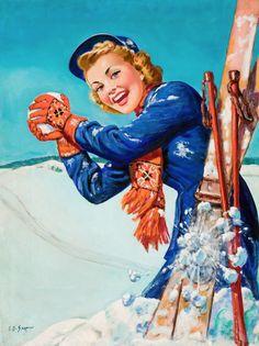 Vintage ski illustration by Ellen Barbara Segner. Pinup, Illustration Noel, Illustrations, Images Vintage, Vintage Art, Theme Sport, Vintage Ski Posters, Vintage Winter, Pin Up Art
