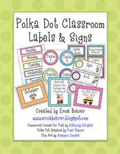 Erica Bohrer's First Grade: Bright Polka Dot Classroom Decor: Updates $
