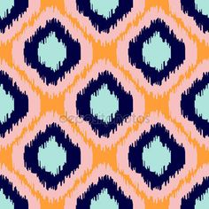 Ikat geometric seamless pattern Orange and blue Vector Image , Vector Pop, Texture Vector, Color Vector, Vector Free, Ikat Pattern, Pattern Art, Pattern Design, Print Patterns, Horse Pattern