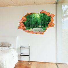Aldea en las montañas 3D ventana de vista Calcomanía Pared Adhesivo Decoración Arte de Mural